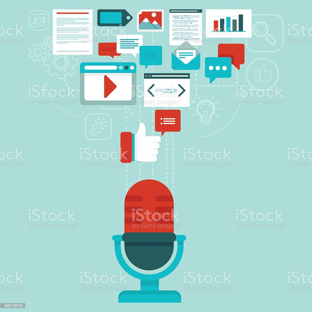Vector podcast concept in flat style vector art illustration