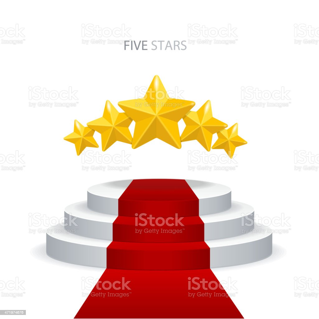 Vector podium with red carpet and stars vector art illustration