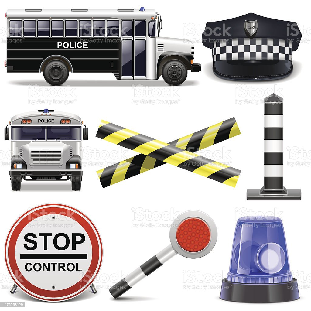 Vector Police Icons vector art illustration