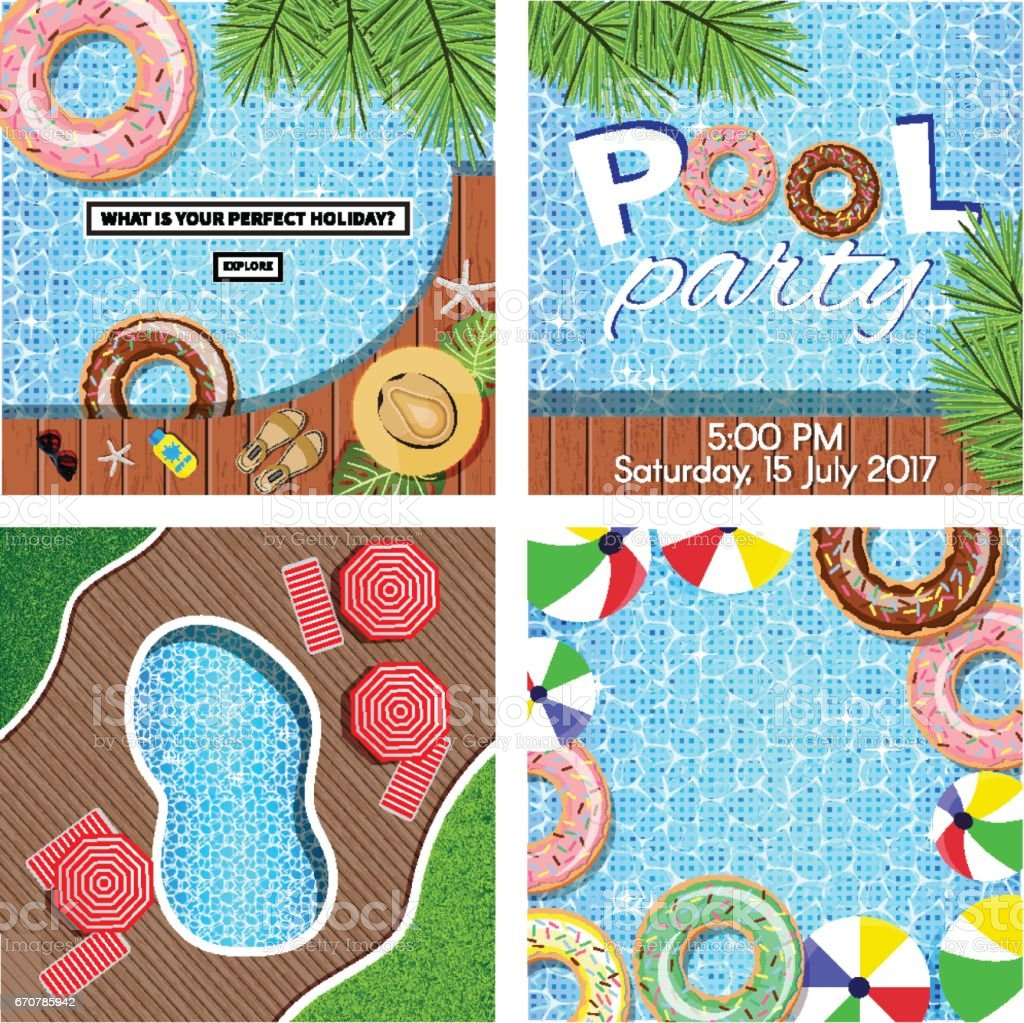 Vector pool set of 4 banners vector art illustration