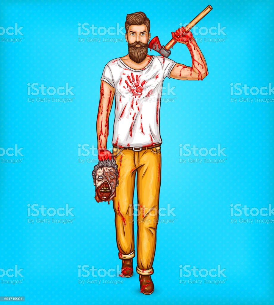 Vector pop art brutal bearded man, macho with blood stained ax holds the head of a dead zombie vector art illustration