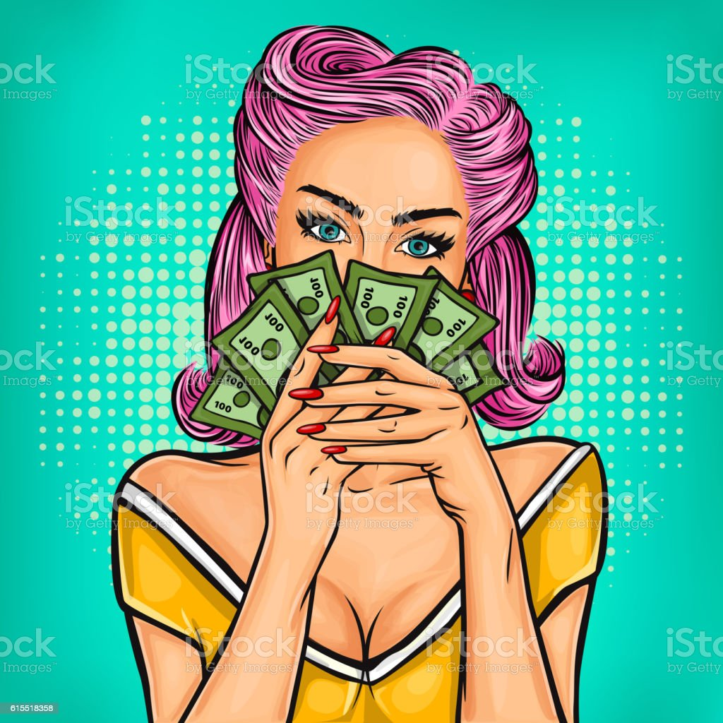 Vector pop art girl with cash vector art illustration