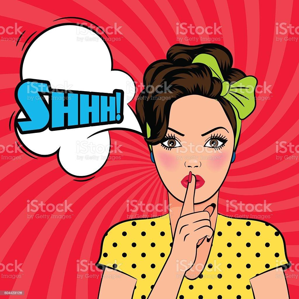 Vector pop art woman asking for silence vector art illustration