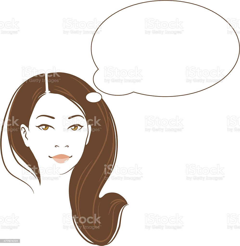 Vector portrait of beautiful thinking asian woman royalty-free stock vector art