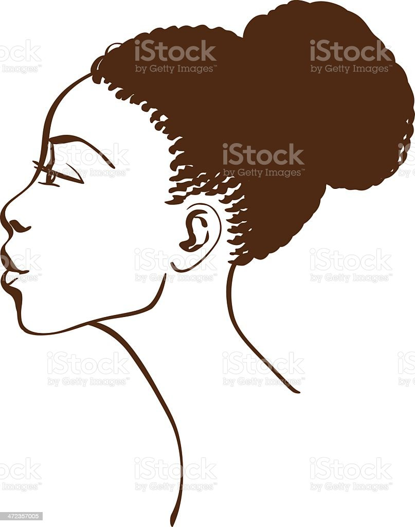 Vector portrait of beautiful woman profile vector art illustration
