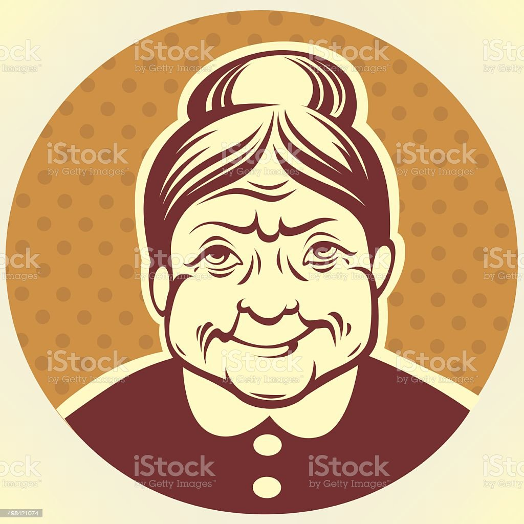 vector portrait of lovely grandmother vector art illustration