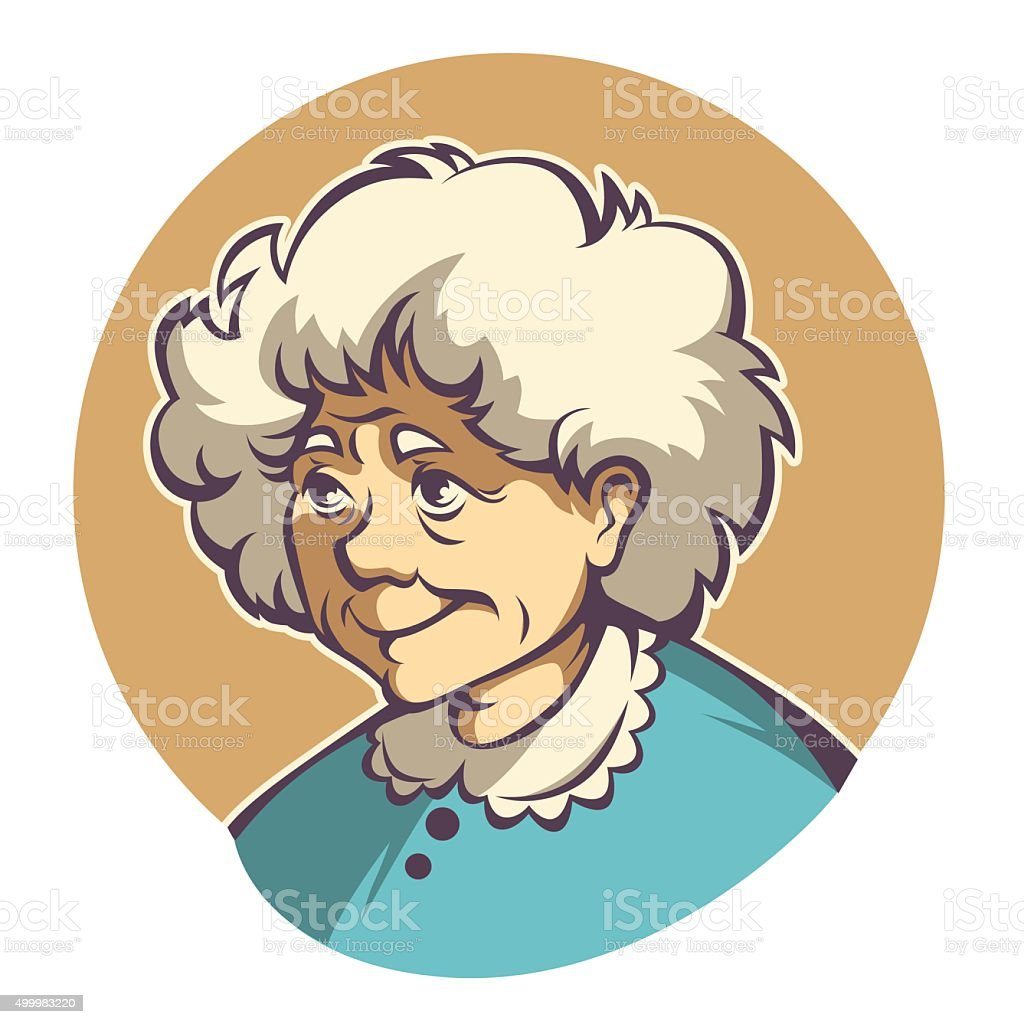 vector portrait of lovely grandmother vector art illustration