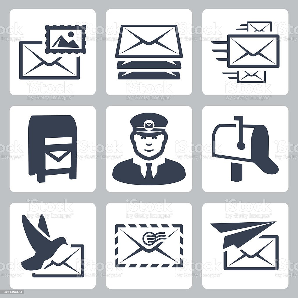 Vector post service icons set vector art illustration