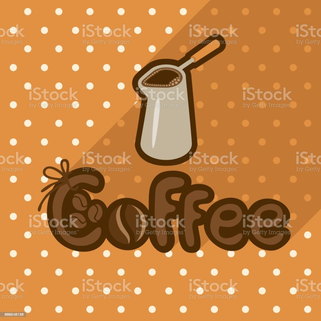 Vector poster in flat style with coffee in cezve vector art illustration