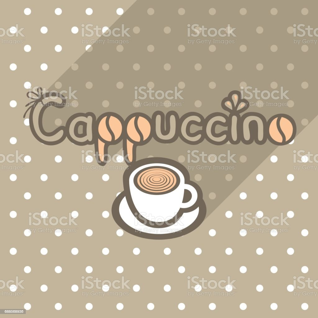 Vector poster in flat style with cup of cappuccino vector art illustration