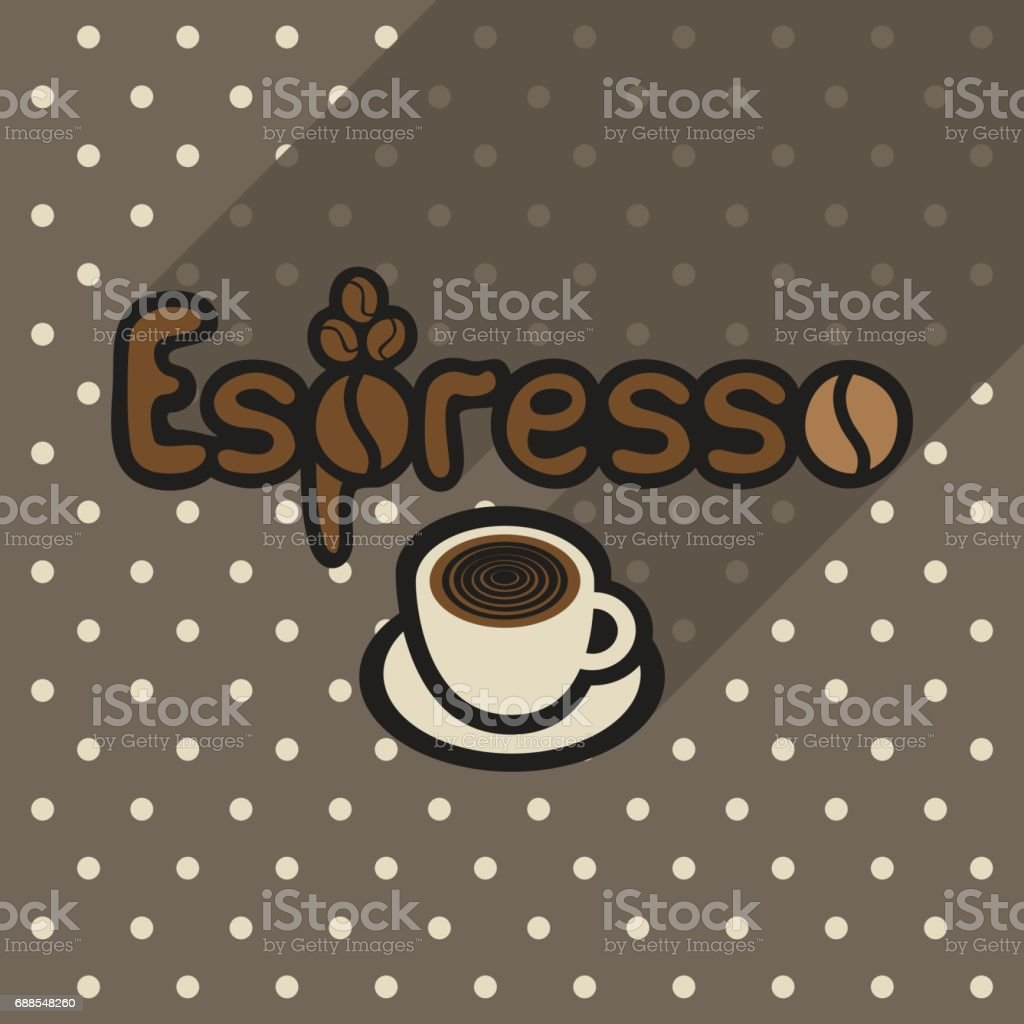 Vector poster in flat style with cup of espresso vector art illustration