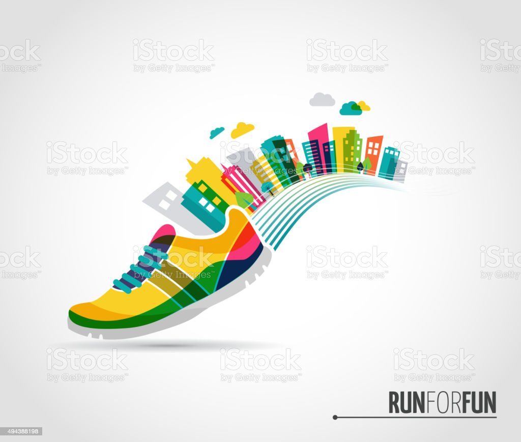Vector poster - running and the city vector art illustration