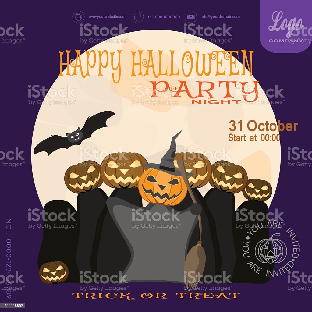 Vector Poster To Happy Halloween Night Party On The Lilac Royalty Free  Stock Vector Art