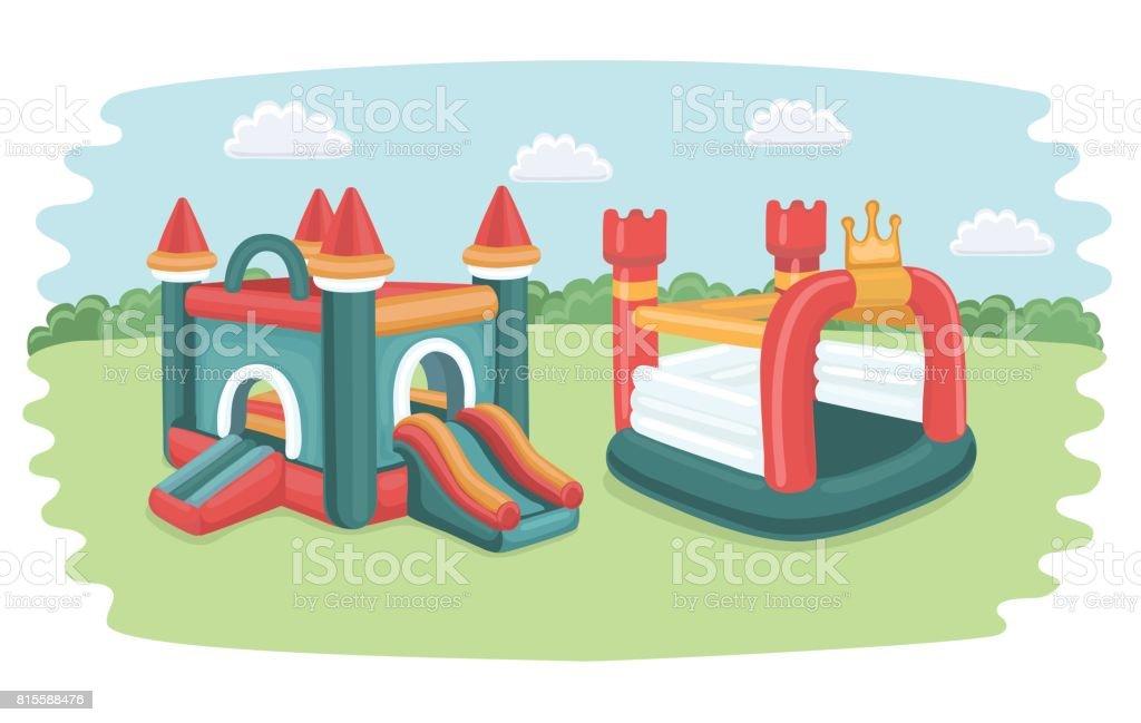 cartel de vector con dos grandes toboganes inflables y lnea iconos castillos toboganes piscina