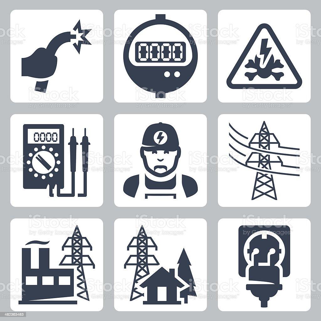Vector power industry icons set vector art illustration