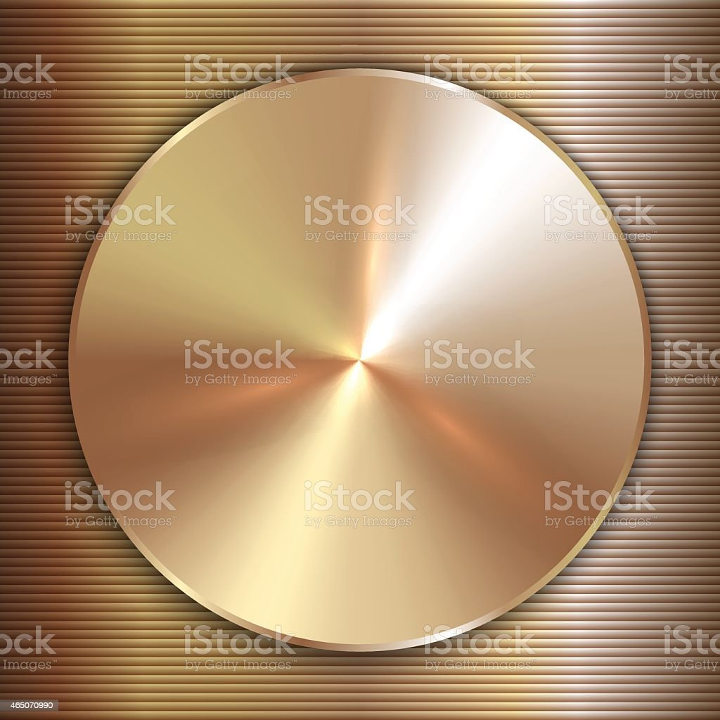Vector precious metal round golden plate with line backgound vector art illustration