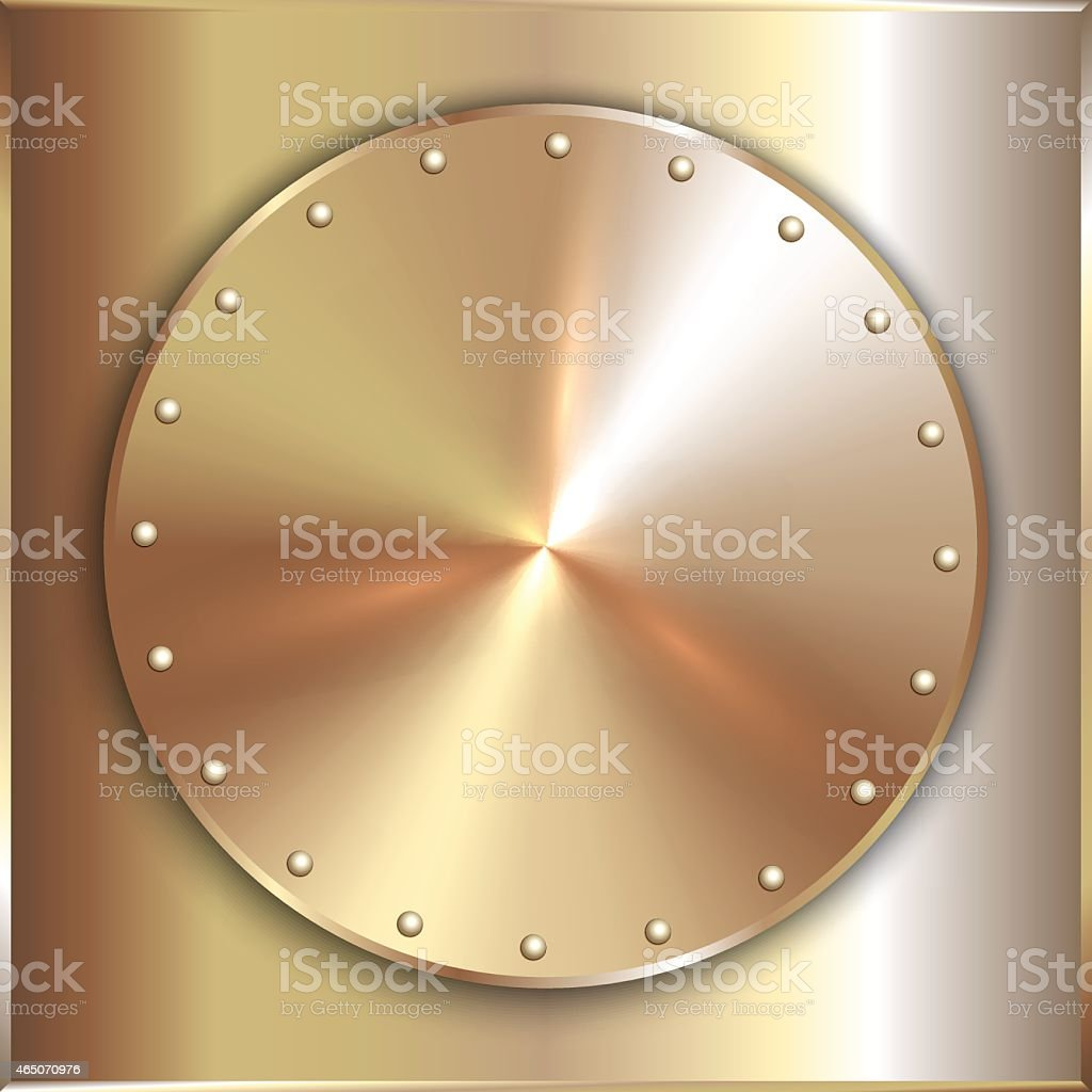 Vector precious metal round golden plate with rivets vector art illustration