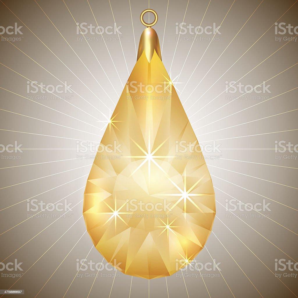 Vector precious yellow diamond pendant with gold setting royalty-free stock vector art