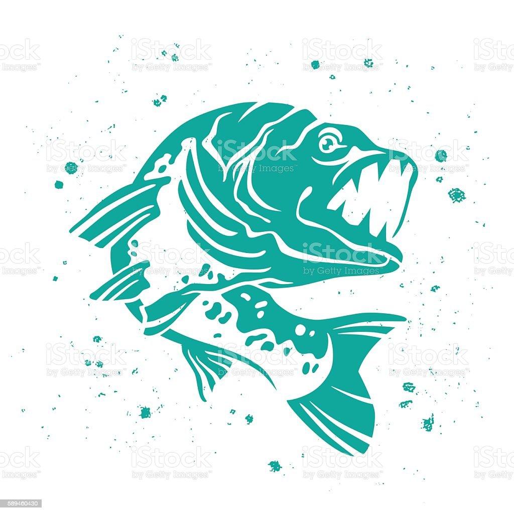Vector Predatory pike. Iimage of fish. vector art illustration