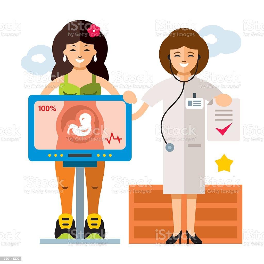 Vector Pregnancy. Diagnostics. Sonography. Flat style colorful Cartoon illustration. vector art illustration