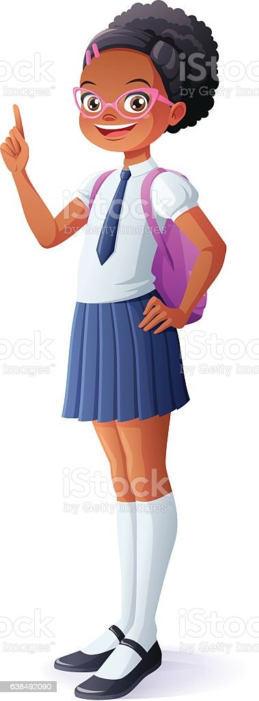 Vector pretty African schoolgirl got idea and finger pointing up. vector art illustration