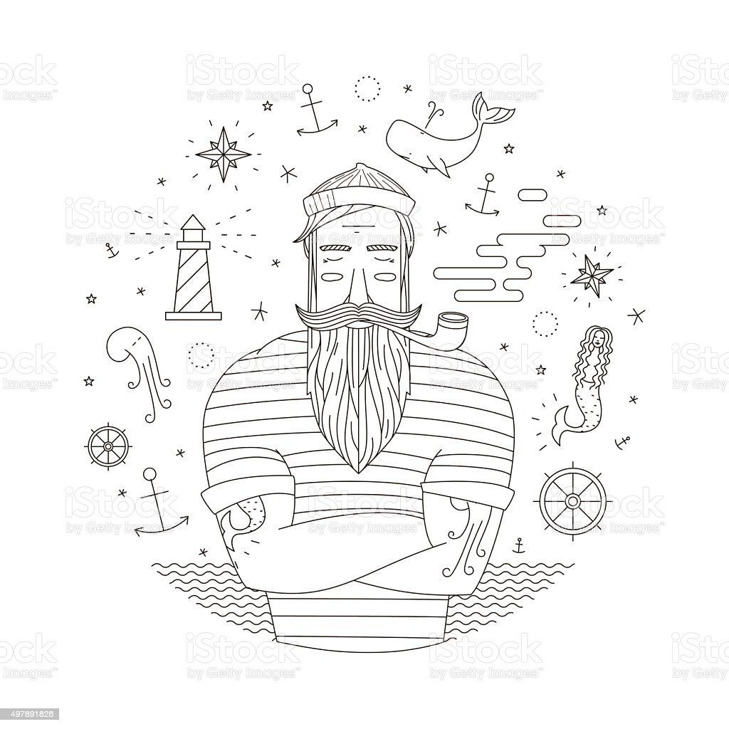 vector print with sailor vector art illustration