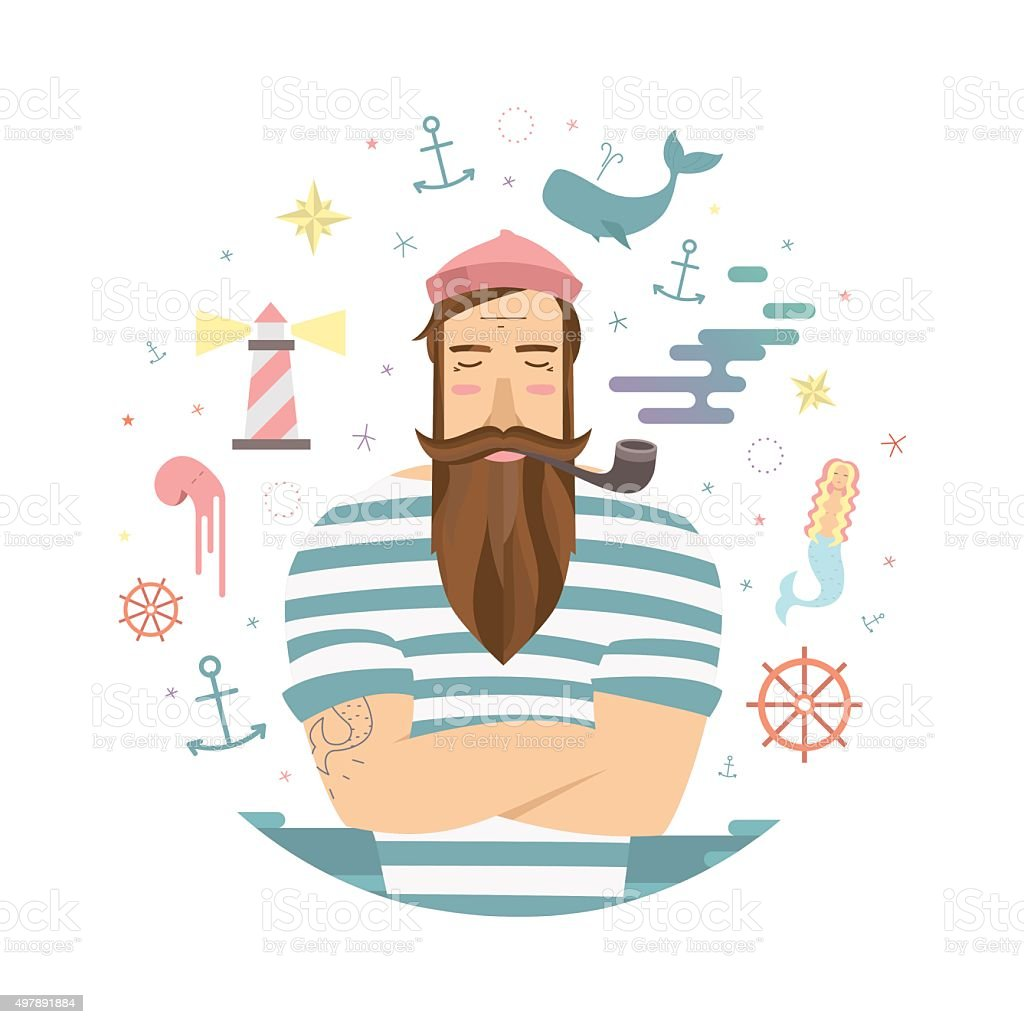 Sailor stock photos illustrations and vector art - Vector Print With Sailor Royalty Free Stock Vector Art