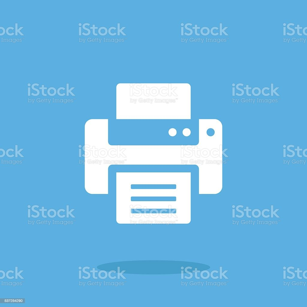 Vector printer icon. White printer icon vector art illustration
