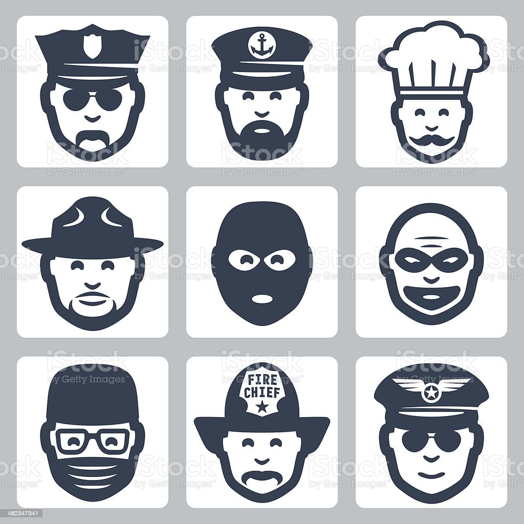 Vector profession icons set #3 vector art illustration
