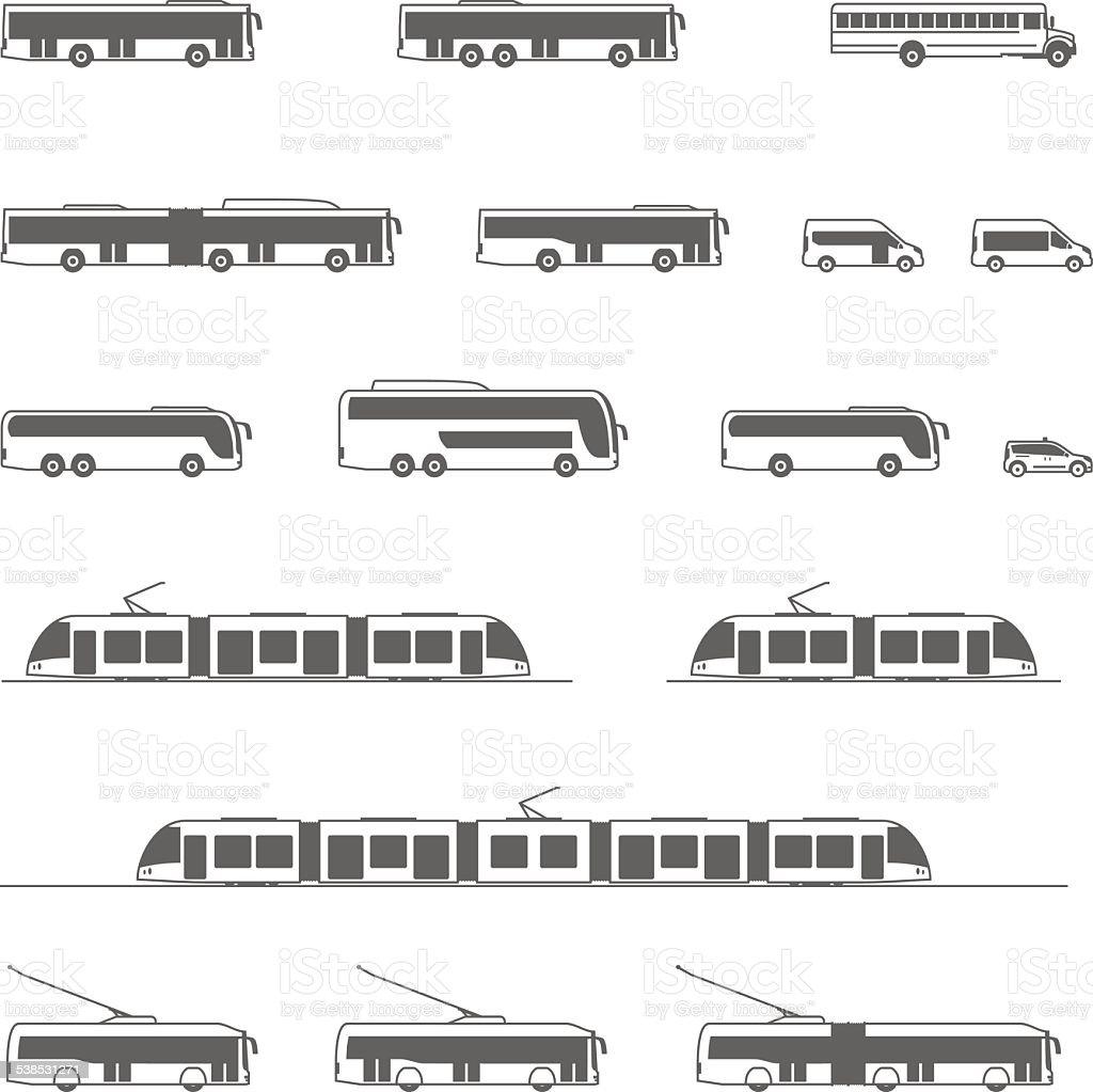 Vector public transport icons vector art illustration