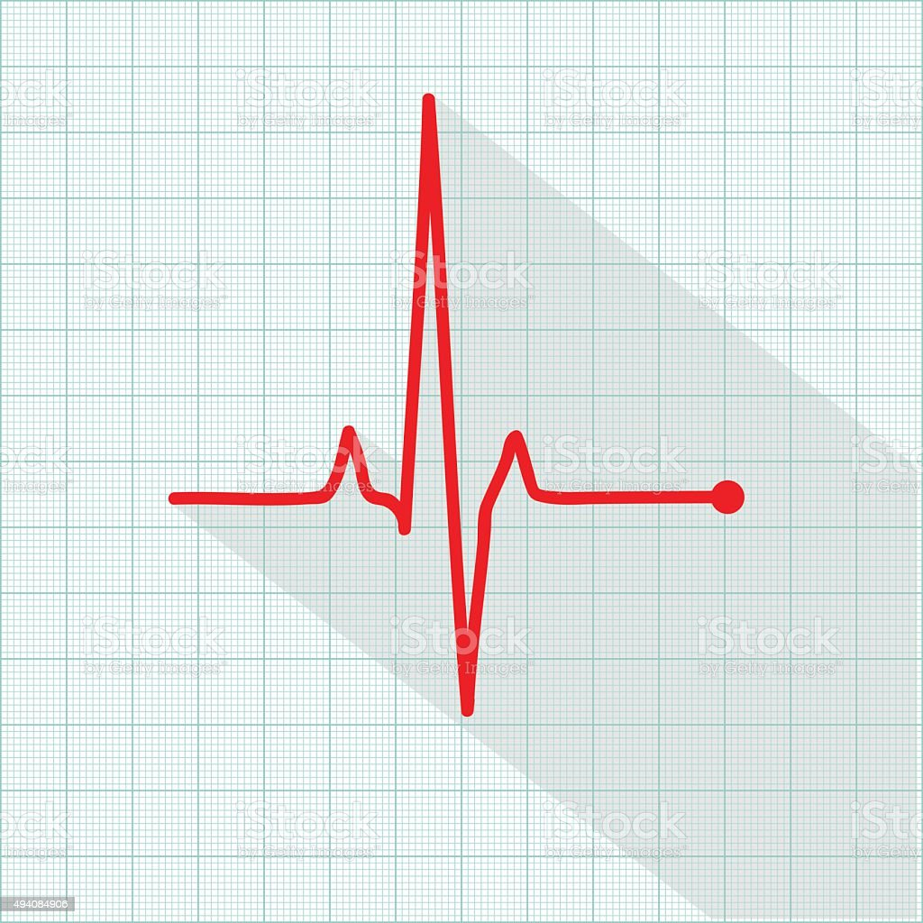 Vector pulse icon isolated over cardiogram grid vector art illustration