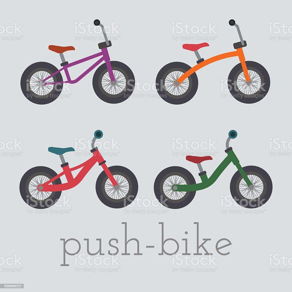 Vector push-bike set illustration. vector art illustration