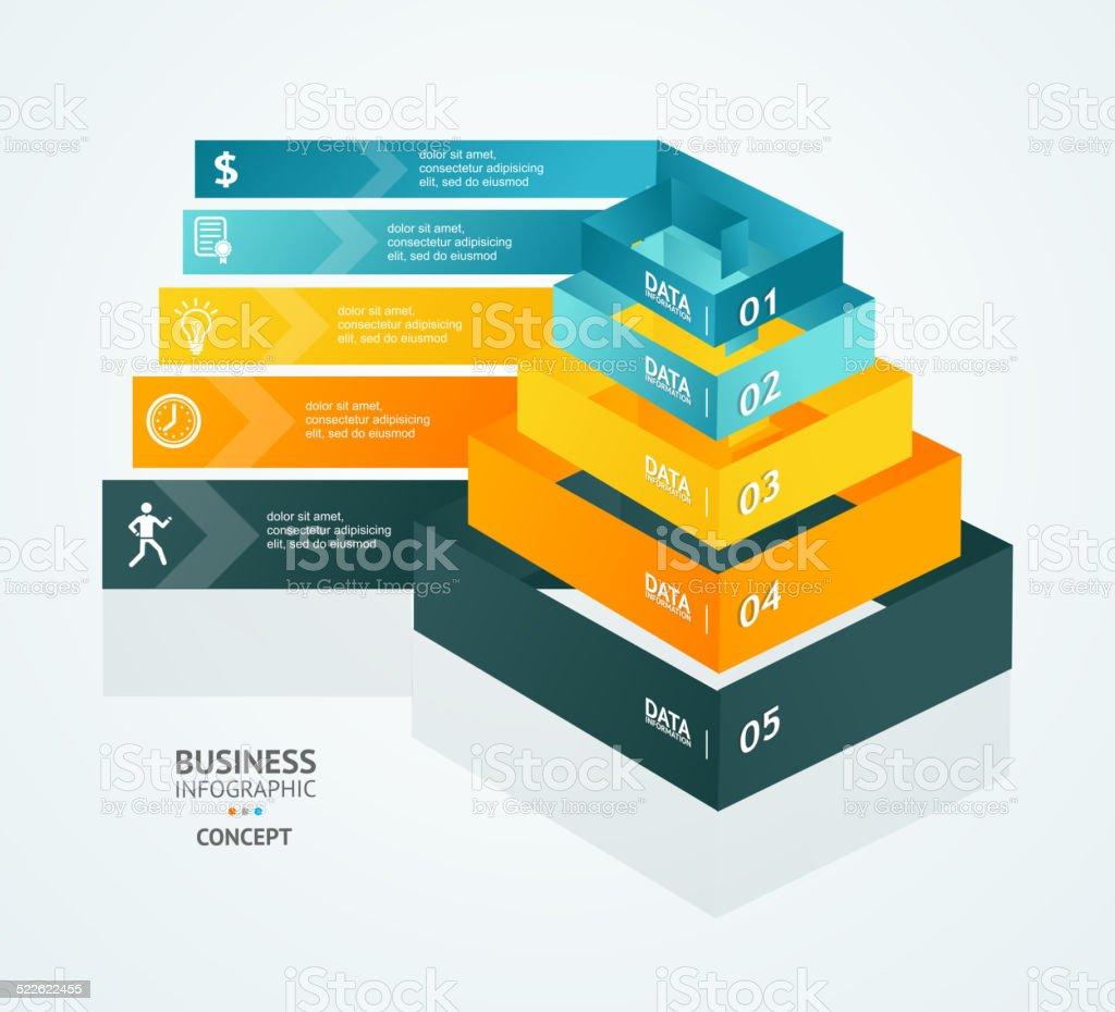 Vector Pyramid chart for infographics design vector art illustration
