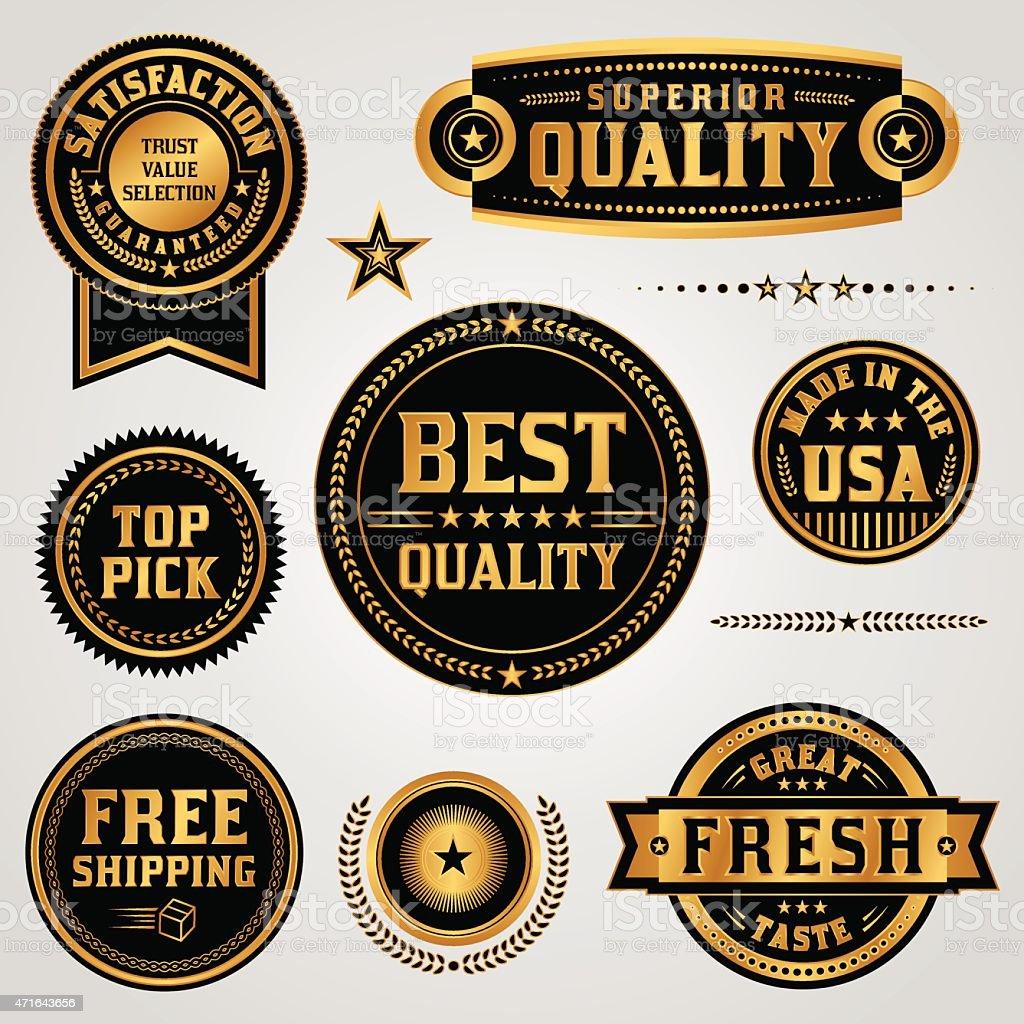 Vector Quality Assurance Labels and Badges Set vector art illustration