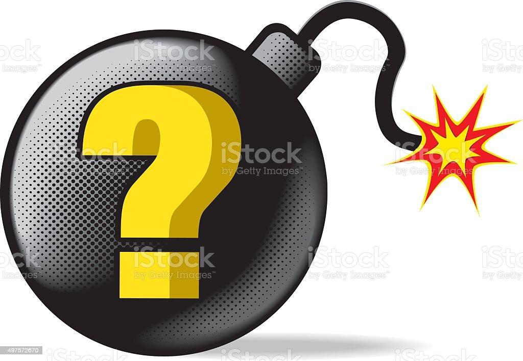 vector question mark and bomb vector art illustration