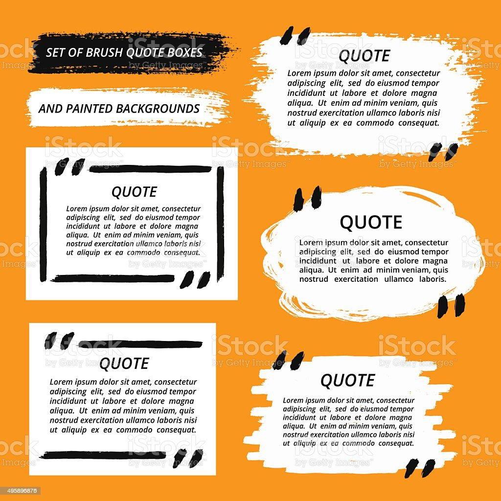 Vector Quote Boxes and Brush Strokes vector art illustration