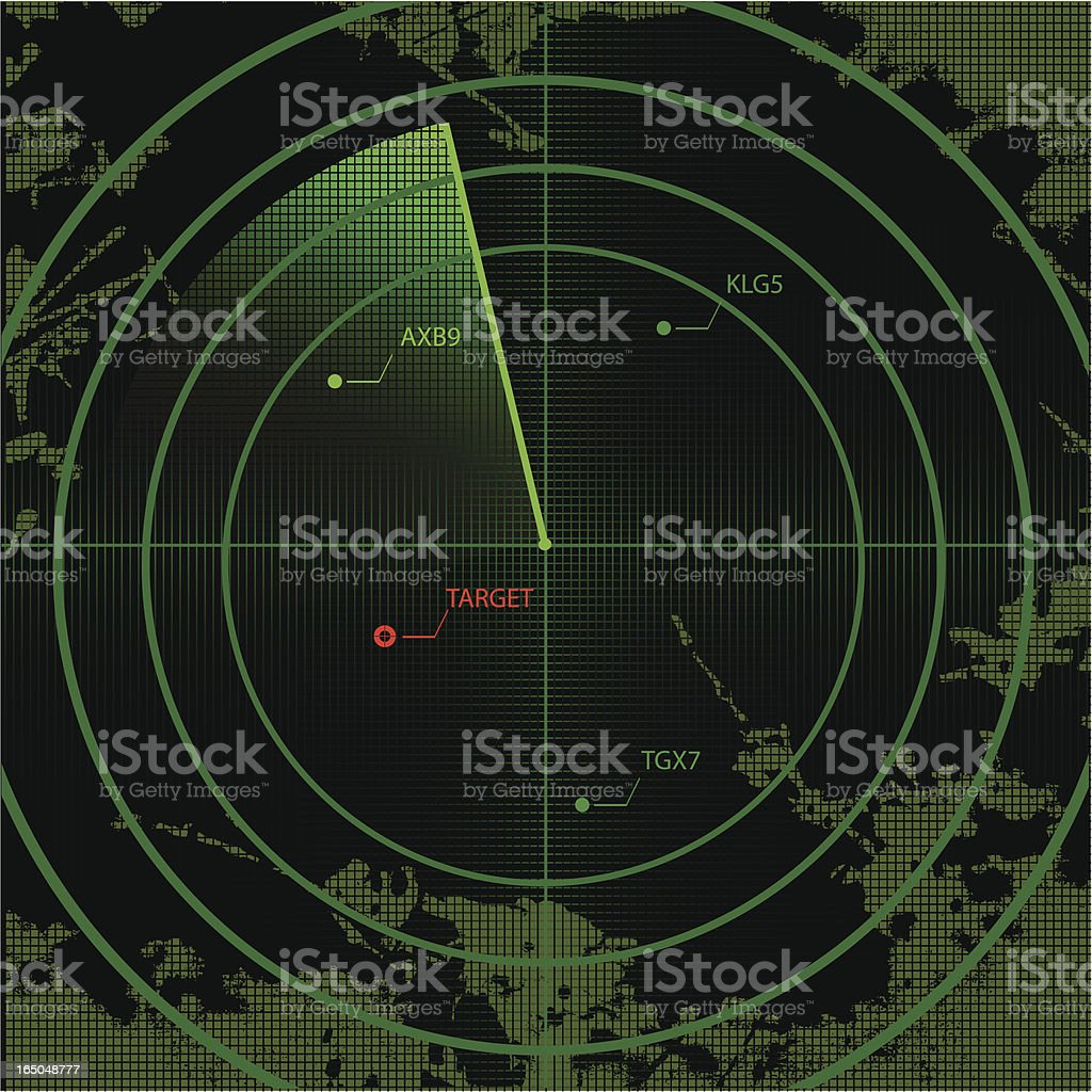 Vector radar screen with map and targets vector art illustration