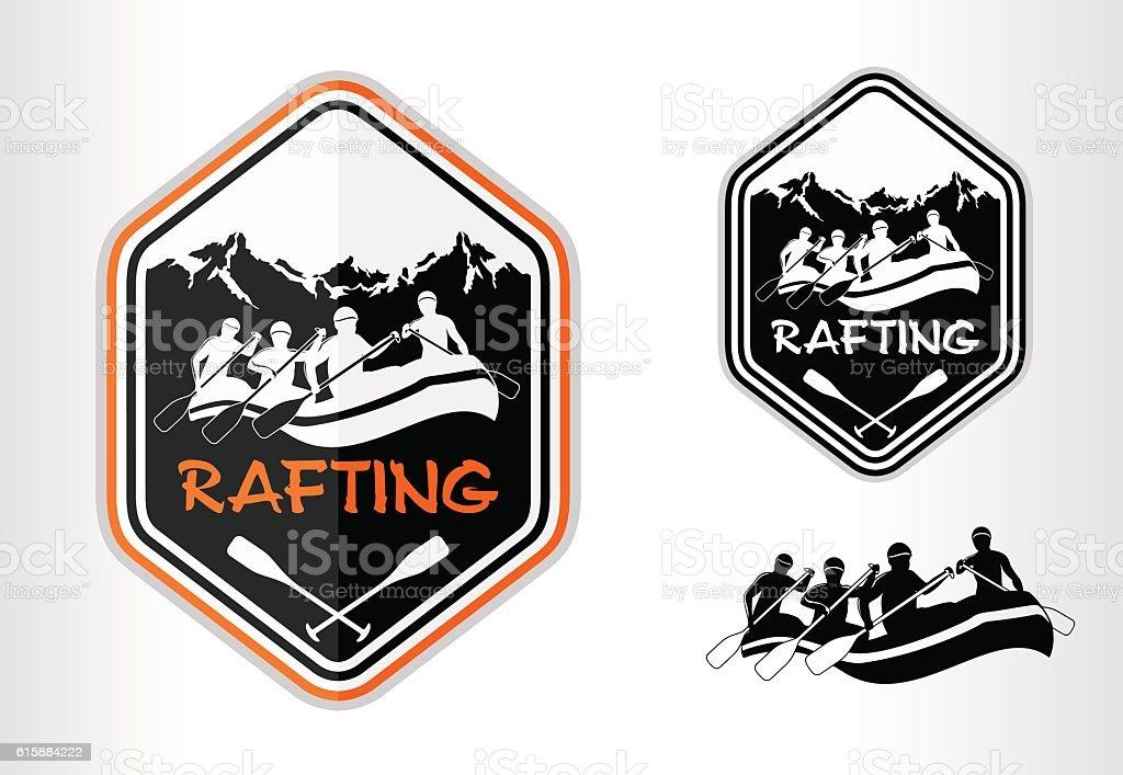 vector rafting emblem logo label vector art illustration