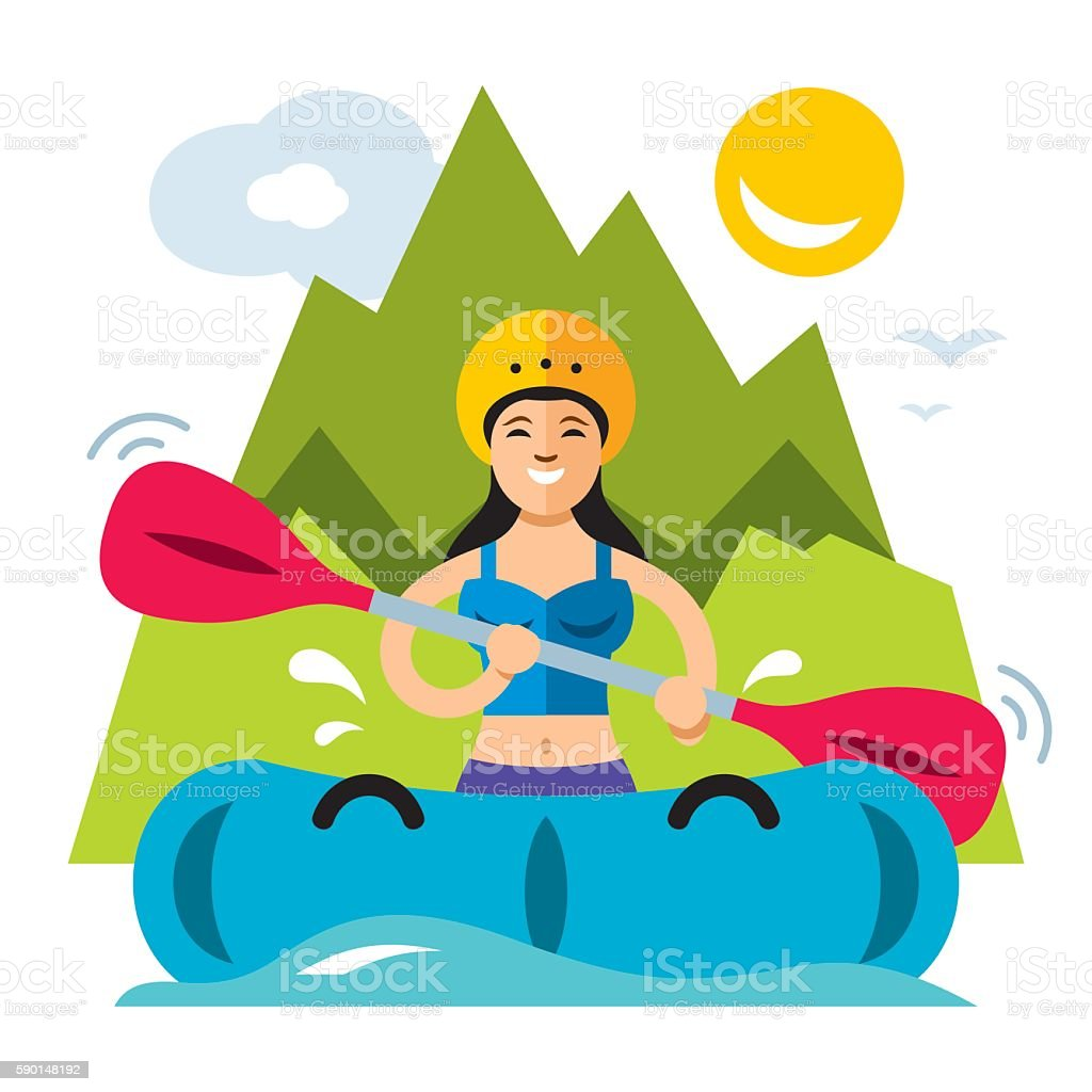 Vector Rafting Girl. Flat style colorful Cartoon illustration. vector art illustration