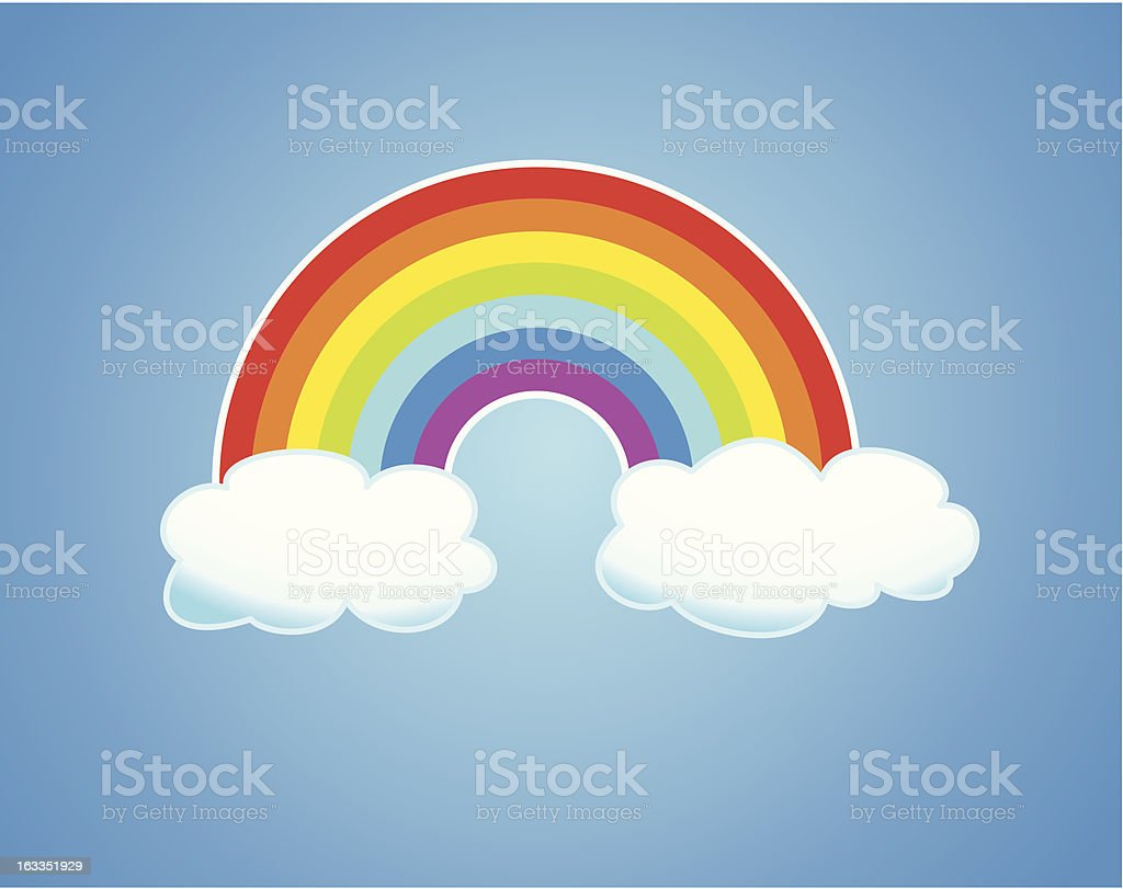 vector rainbow and clouds in the sky royalty-free stock vector art