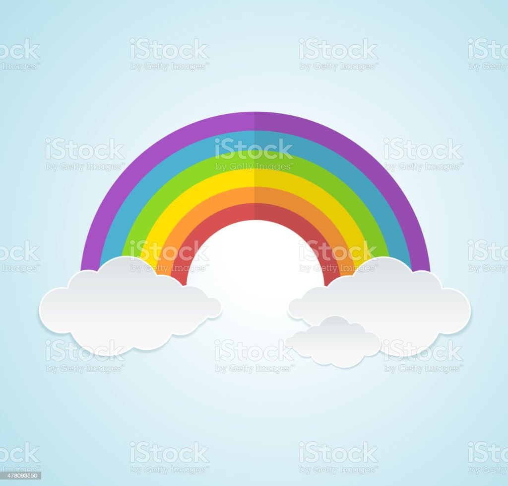Vector rainbow and clouds in the sky vector art illustration
