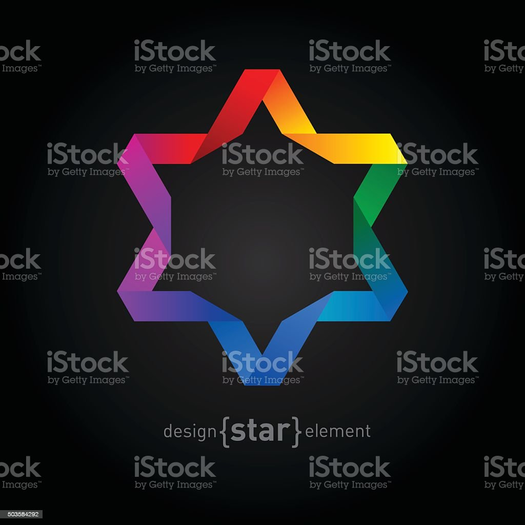 Vector Rainbow Origami David Star on black background vector art illustration
