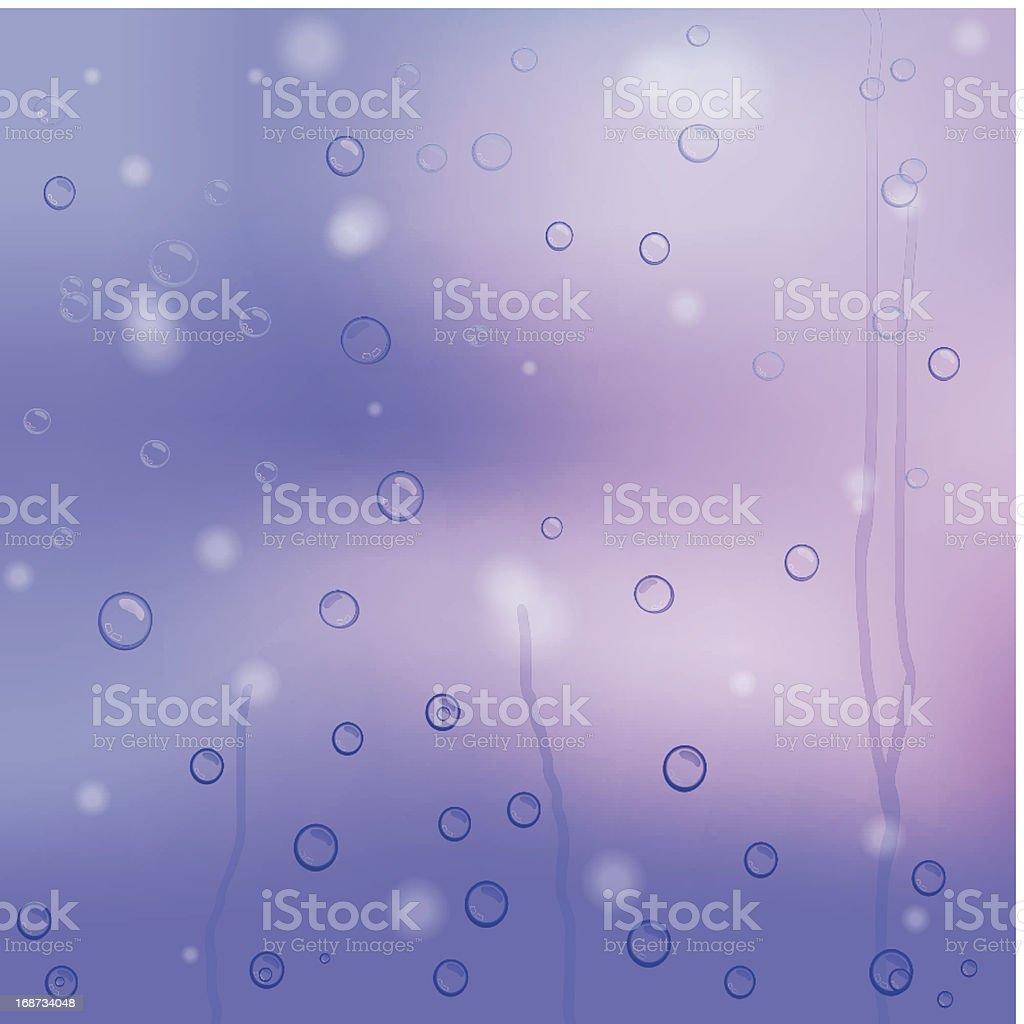 vector raindrops on purple glass royalty-free stock vector art