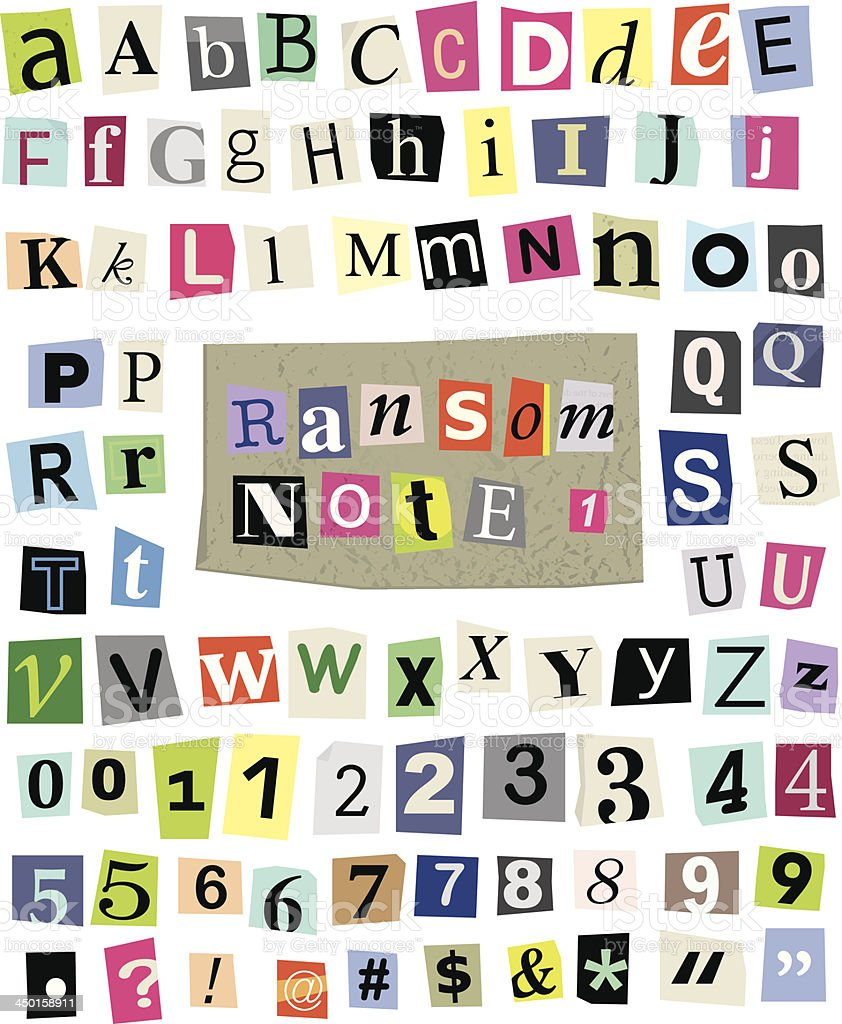 Vector Ransom Note #1- Cut Paper Letters, Numbers, Symbols vector art illustration