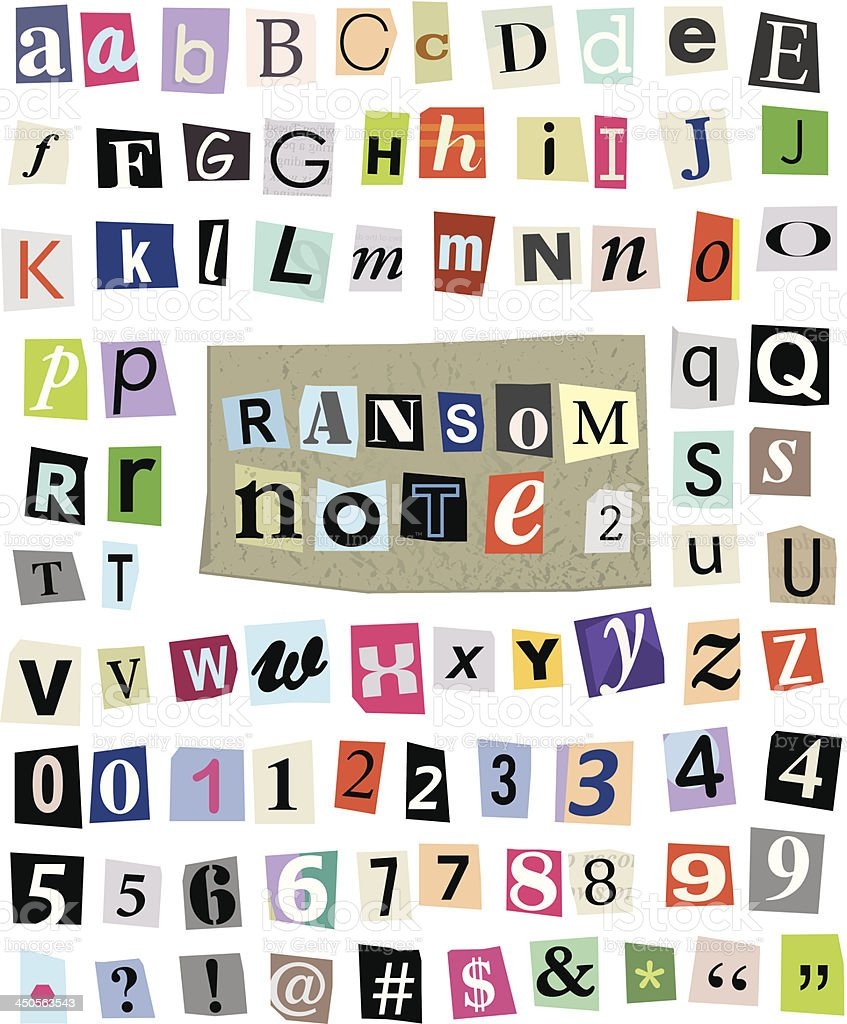 Vector Ransom Note #2- Cut Paper Letters, Numbers, Symbols vector art illustration