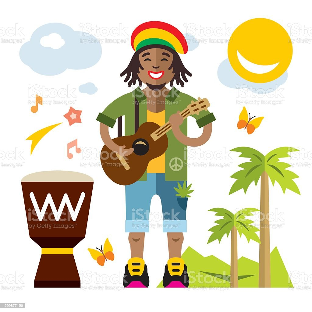 Vector Rastafarian. Reggae Artist. Flat style colorful Cartoon illustration. vector art illustration