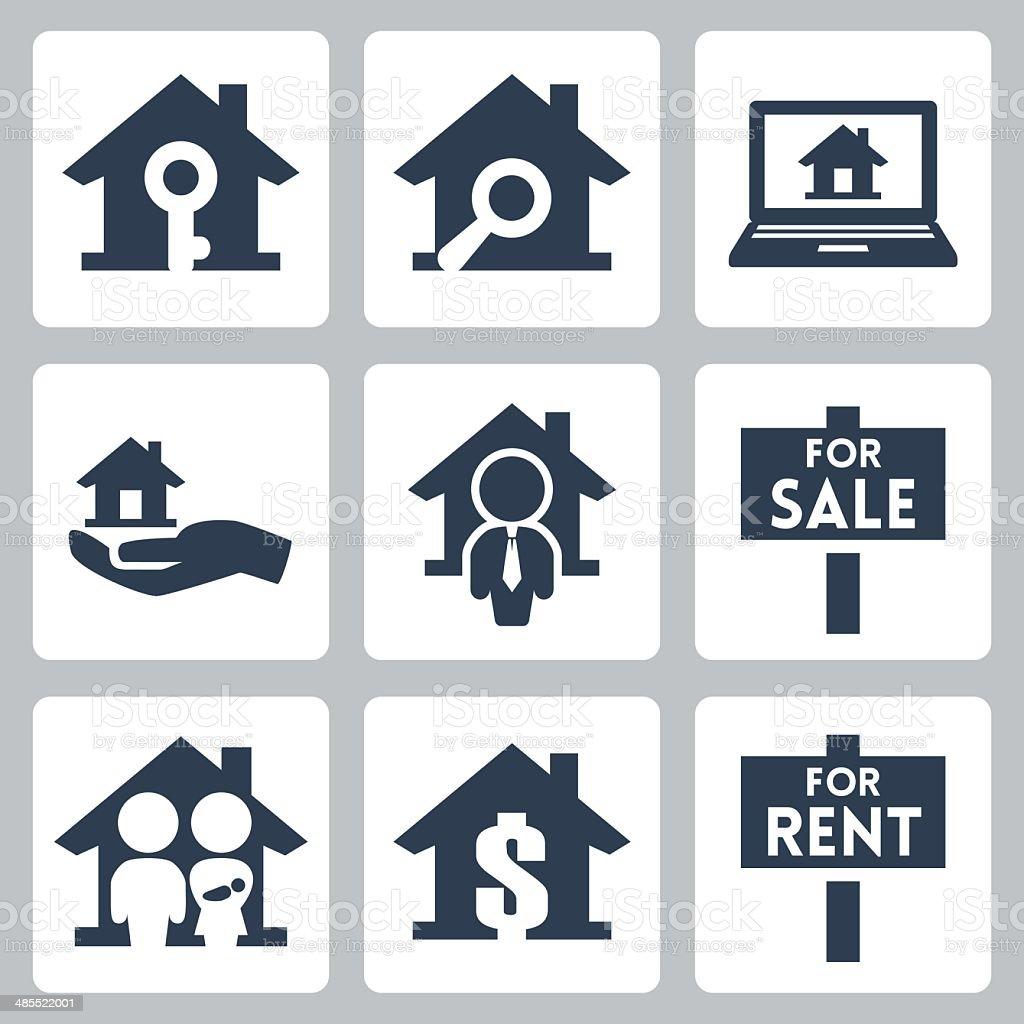 Vector real estate icons set vector art illustration