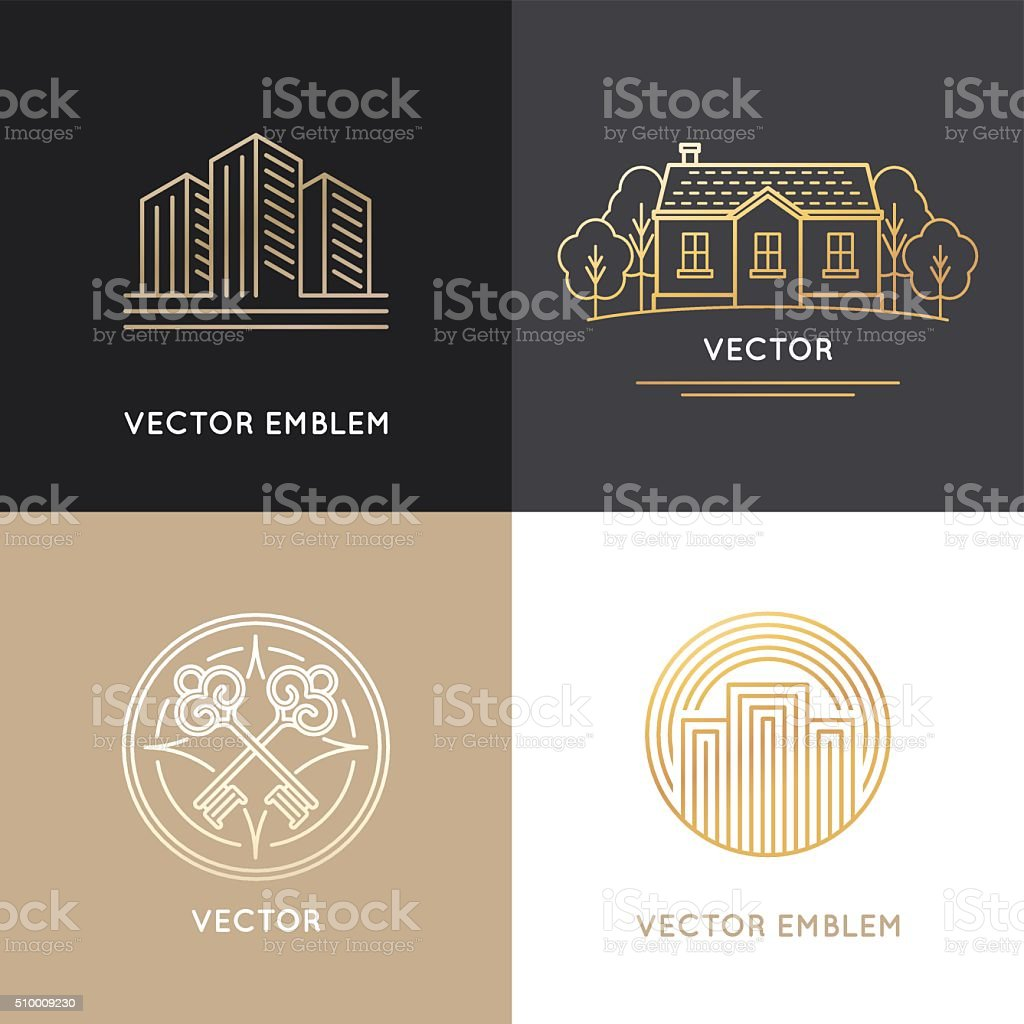 Vector real estate logo design templates vector art illustration