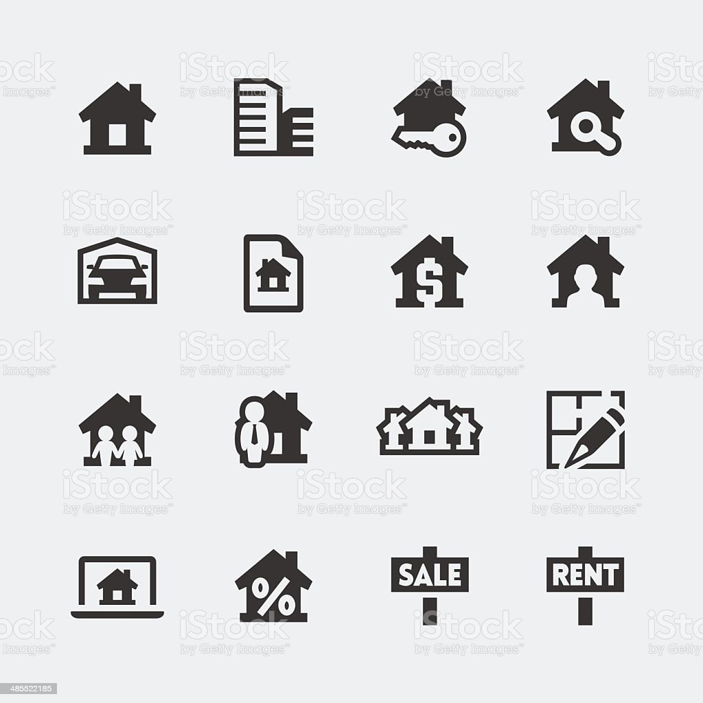 Vector real estate mini icons set vector art illustration