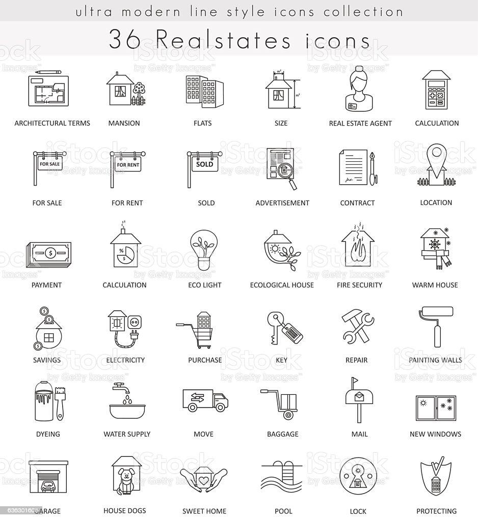 Vector Real estates house ultra modern outline line icons for vector art illustration